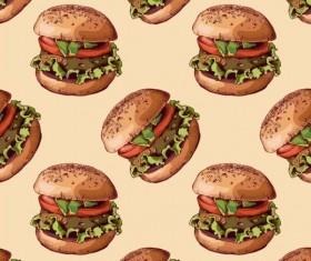 Burger pattern seamless vector 03