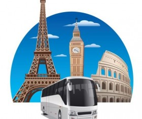 Bus tour vector material