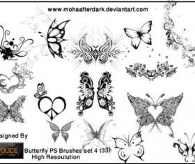 Butterfly decor brushes