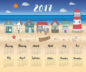 Calendars 2017 with beach house vector 01
