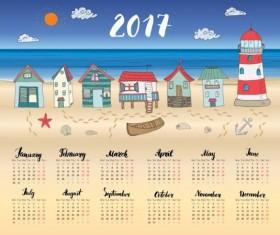 Calendars 2017 with beach house vector 02