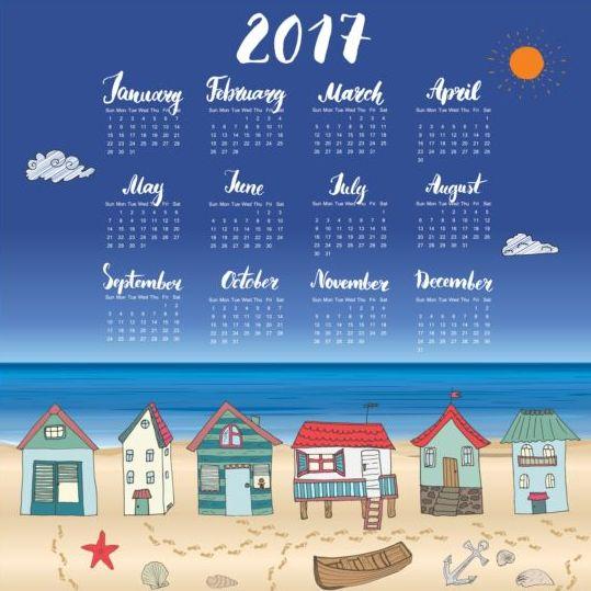 Calendars 2017 with beach house vector 03
