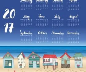 Calendars 2017 with beach house vector 04