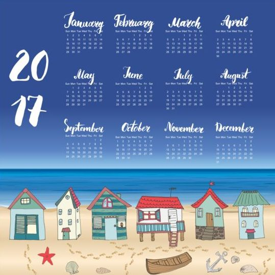 Calendars 2017 with beach house vector 04