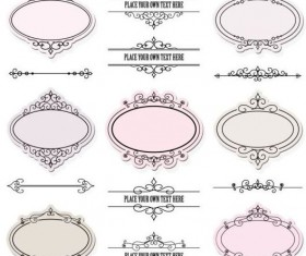 Calligraphic ornaments with floral frames vector 02
