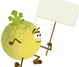 Cantaloupe melon holding blank signboard vector