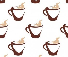 Cappuccino coffee seamless pattern vector material 01