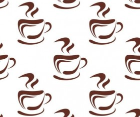 Cappuccino coffee seamless pattern vector material 04