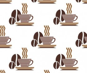 Cappuccino coffee seamless pattern vector material 05