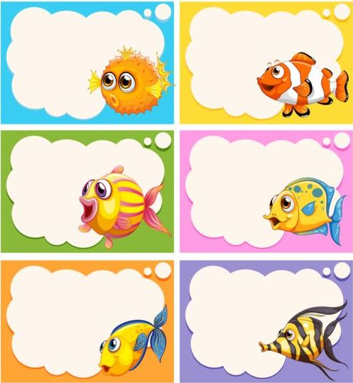Cartoon Fish With Speech Bubbles For You Text Vector