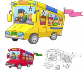 Cartoon school bus vectors