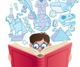 Children with books vector design 02