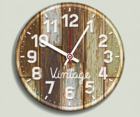 Clock old wood vector 02