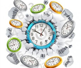 Clock with breaking wall vector