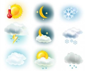 Cloud with snow and sun weather icons