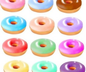 Colored donuts icons set 01