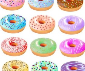Colored donuts icons set 02