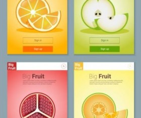 Colorful fruit app interface design vector 1