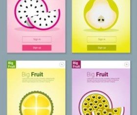 Colorful fruit app interface design vector 2