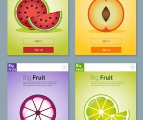 Colorful fruit app interface design vector 3