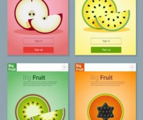 Colorful fruit app interface design vector 4
