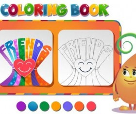 Coloring book friendship day vector