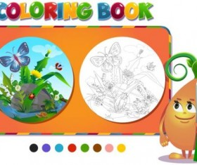 Coloring book insects with nature vector 01