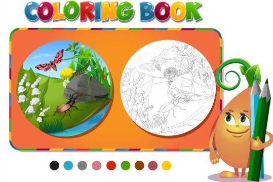 Coloring book insects with nature vector 02