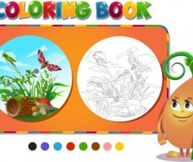 Coloring book insects with nature vector 03