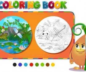 Coloring book insects with nature vector 04