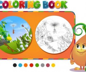 Coloring book insects with nature vector 05