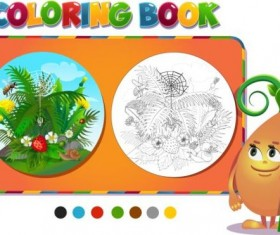 Coloring book insects with nature vector 06