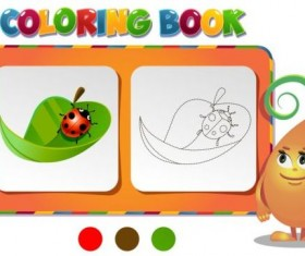Coloring book leave with ladybird vector