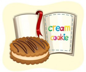 Cream cookie with book vector