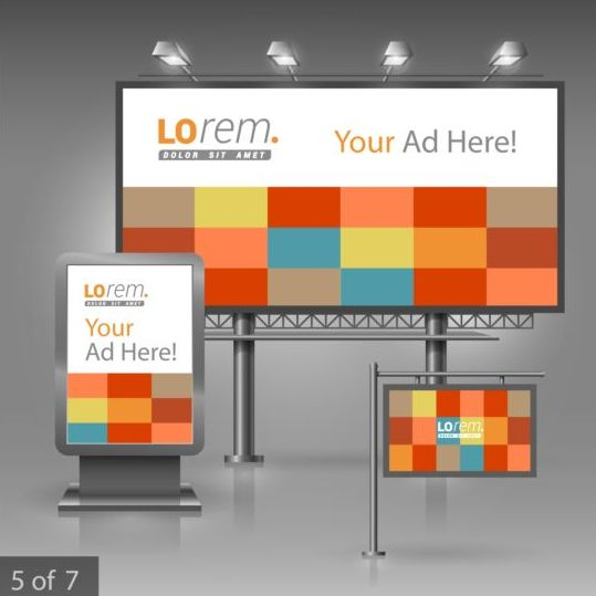 Creative billboard sign and light box design vector 03