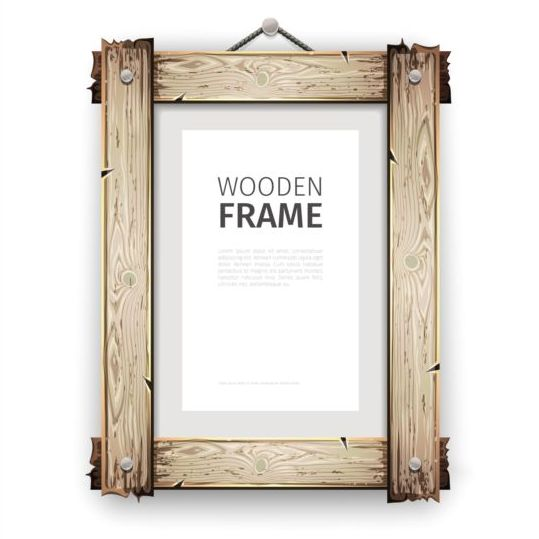 creative wooden photo frames vector set 04