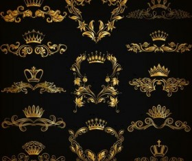 Crown with golden ornaments luxury vector 03