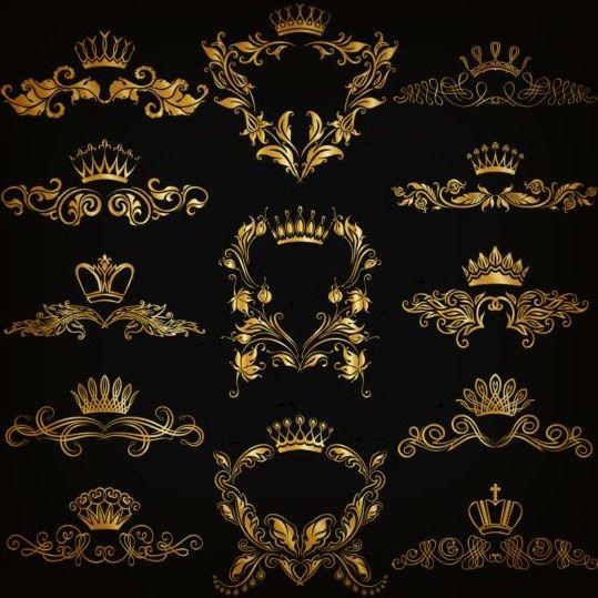 Crown with golden ornaments luxury vector 03 - Vector ...