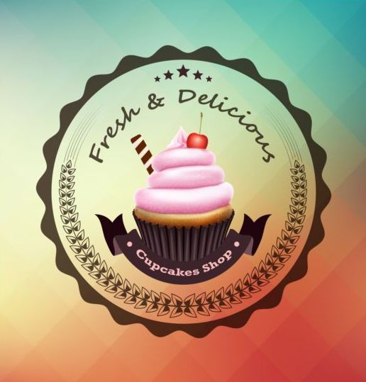 Cupcake labels design vector set 01