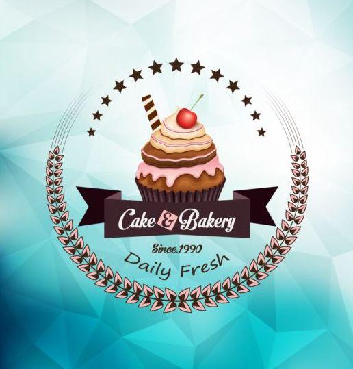 Cupcake labels design vector set 04