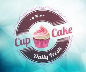 Cupcake labels design vector set 08