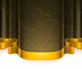 Dark green curtain with golden decorative tape vector