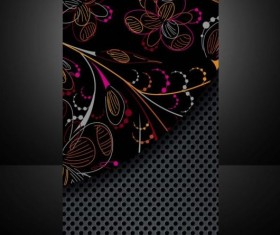 Dark metal with floral cover template vector 03