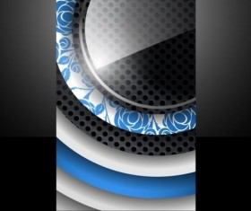 Dark metal with round glass cover template vector 01