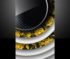 Dark metal with round glass cover template vector 02
