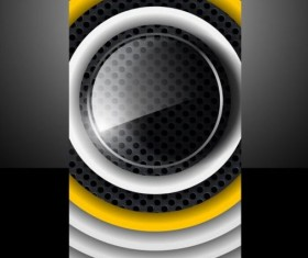 Dark metal with round glass cover template vector 03