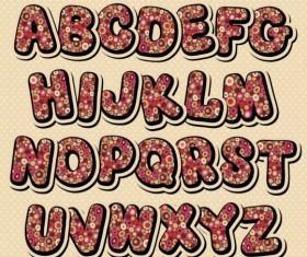 Decor pattern with alphabet vector 02