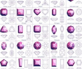 Diamond shapes with outlines vector set 01