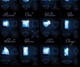 Diamond shapes with outlines vector set 03