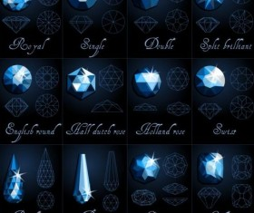 Diamond shapes with outlines vector set 04